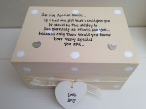 Shabby Personalised chic Box Best Special Niece gift Trinket Jewellery any name - 253376481001